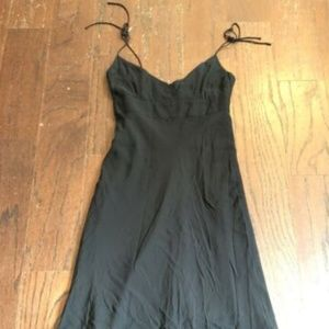 J Crew 2 Black Silk Tie Strap Dress